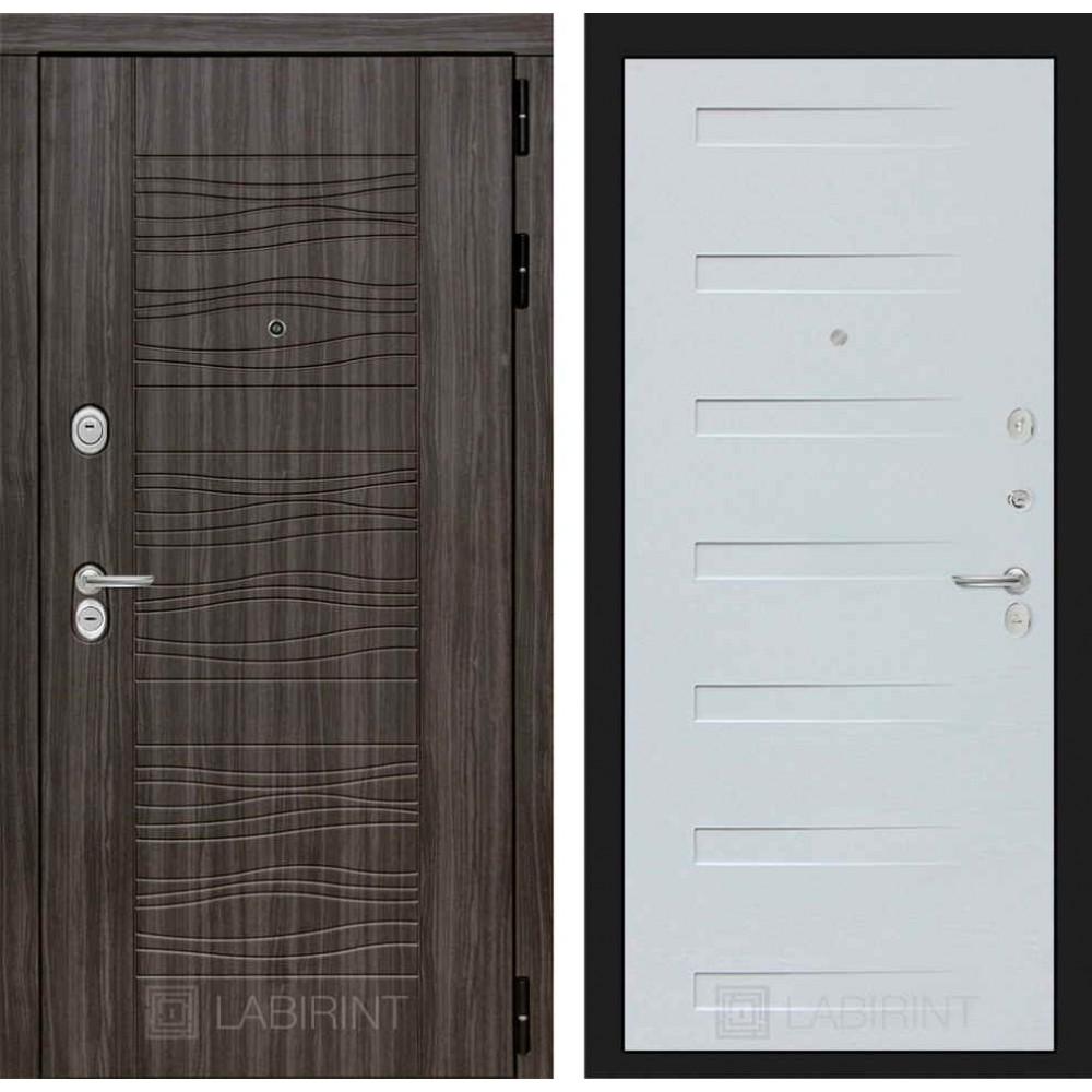 Входная дверь Лабиринт SCANDI Дарк грей 14 - Дуб кантри белый горизонтальный (трехконтурные)