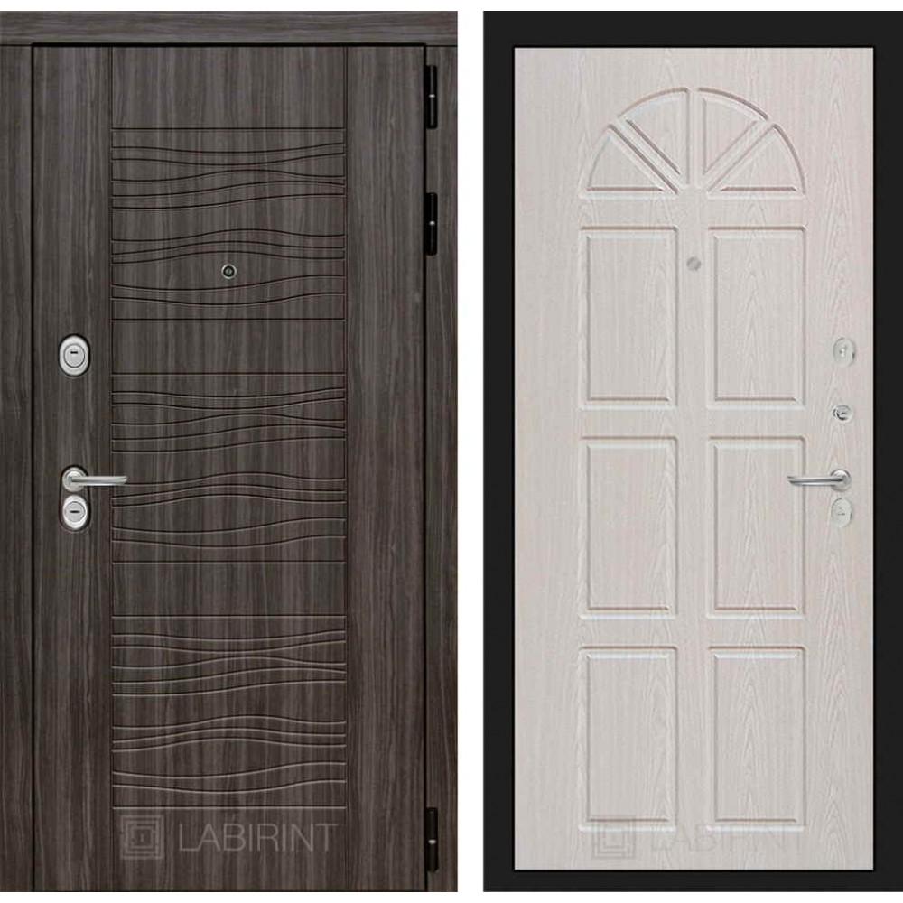 Входная дверь Лабиринт SCANDI Дарк грей 15 - Алмон 25 (утепленные)