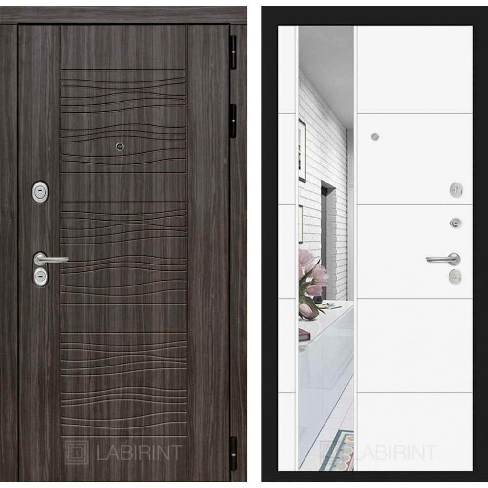 Входная дверь Лабиринт SCANDI Дарк грей с Зеркалом 19 - Белый софт ( трехконтурные)