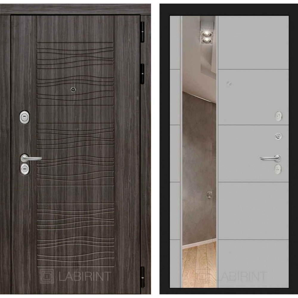 Входная дверь Лабиринт SCANDI Дарк грей с Зеркалом 19 - Грей софт ( трехконтурные )