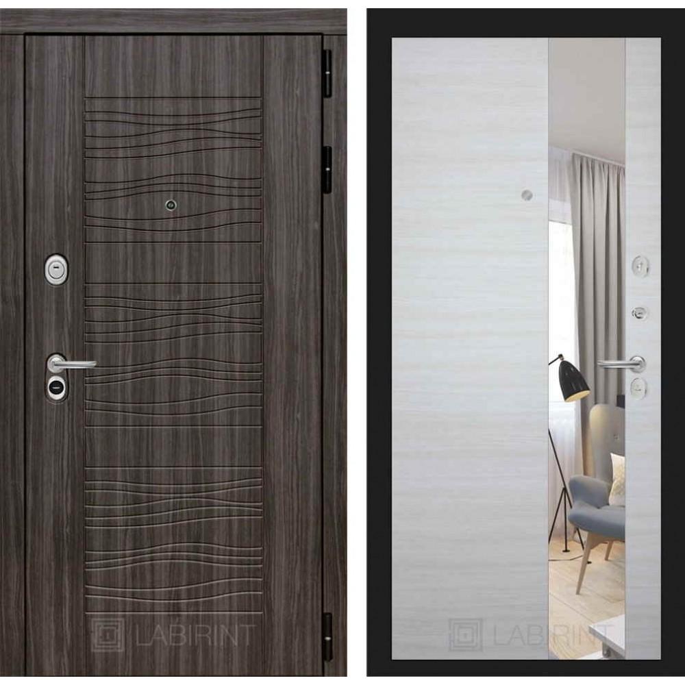 Входная дверь Лабиринт SCANDI Дарк грей с Зеркалом - Акация светлая горизонтальная (трехконтурные)