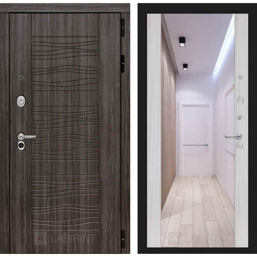 Входная дверь Лабиринт SCANDI Дарк грей с Зеркалом Максимум - Сандал белый (трехконтурные)