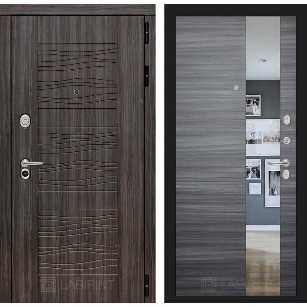 Входная дверь Лабиринт SCANDI Дарк грей с Зеркалом - Сандал серый горизонтальный (с шумоизоляцией)