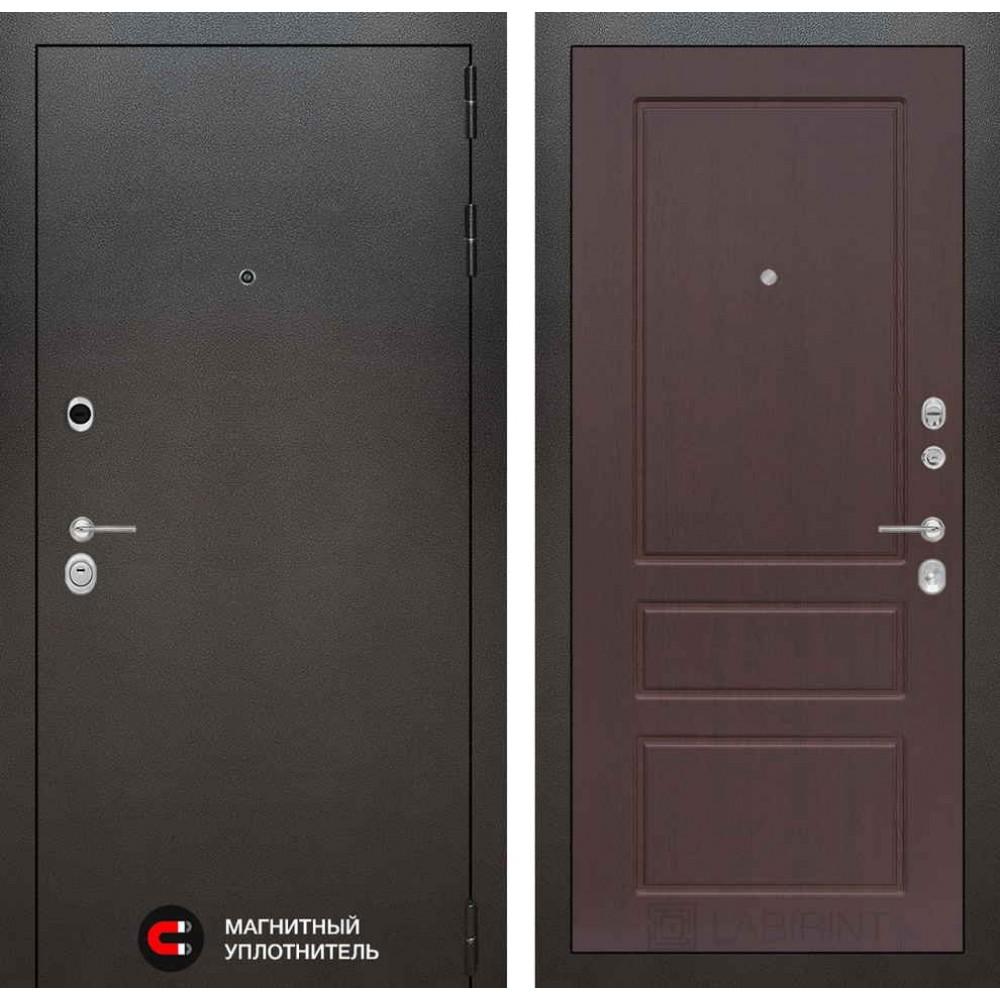 Входная дверь Лабиринт SILVER 03 - Орех премиум (антивандальные)
