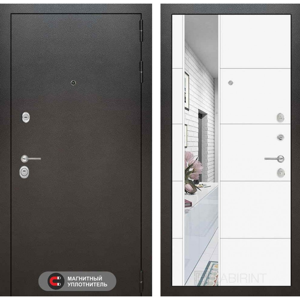 Входная дверь Лабиринт SILVER с Зеркалом 19 - Белый софт ( трехконтурные )