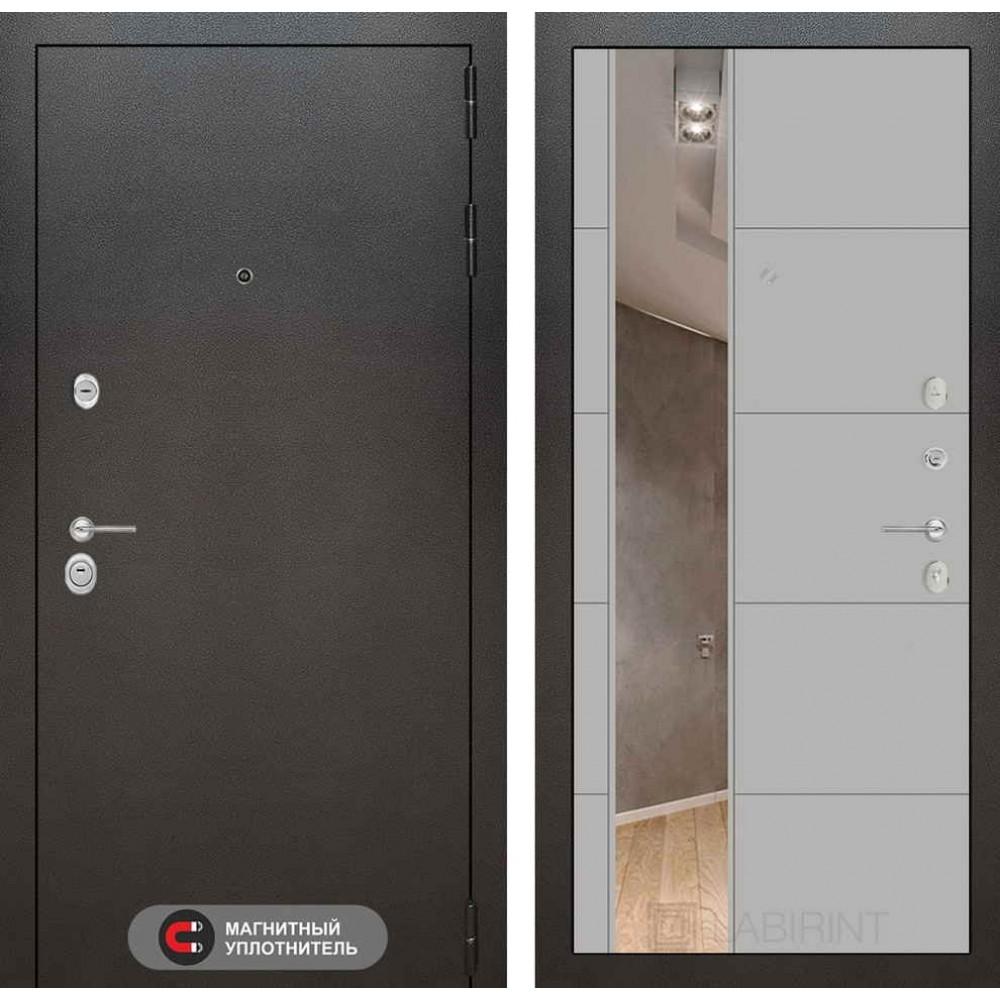Входная дверь Лабиринт SILVER с Зеркалом 19 - Грей софт ( утепленные )