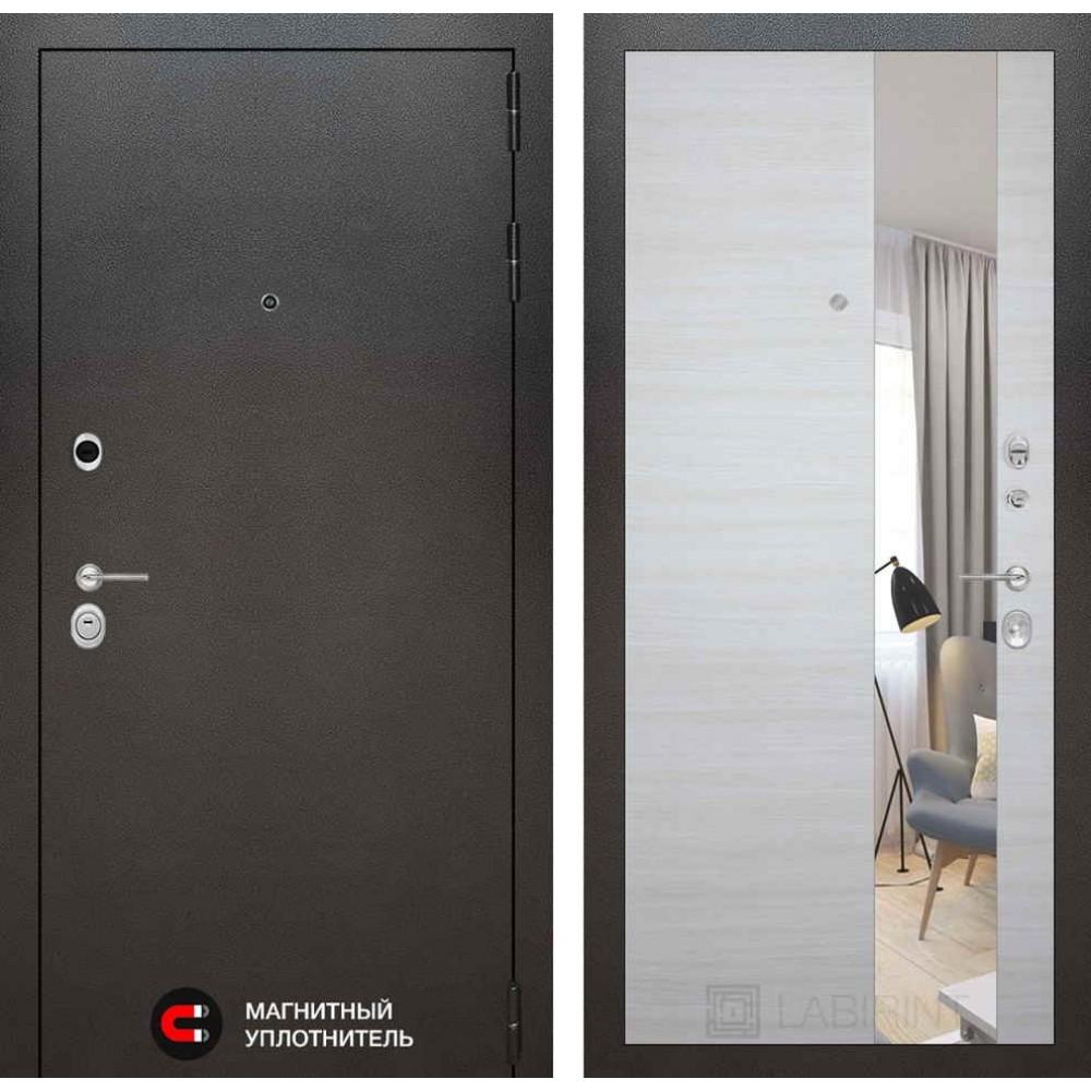 Входная дверь Лабиринт SILVER с Зеркалом - Акация светлая горизонтальная (трехконтурная)