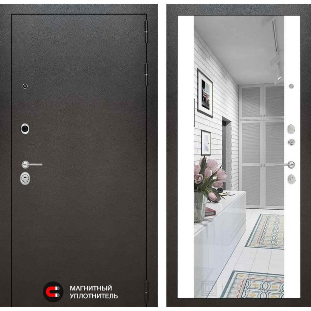 Входная дверь Лабиринт SILVER с Зеркалом Максимум - Белый софт (утепленные)