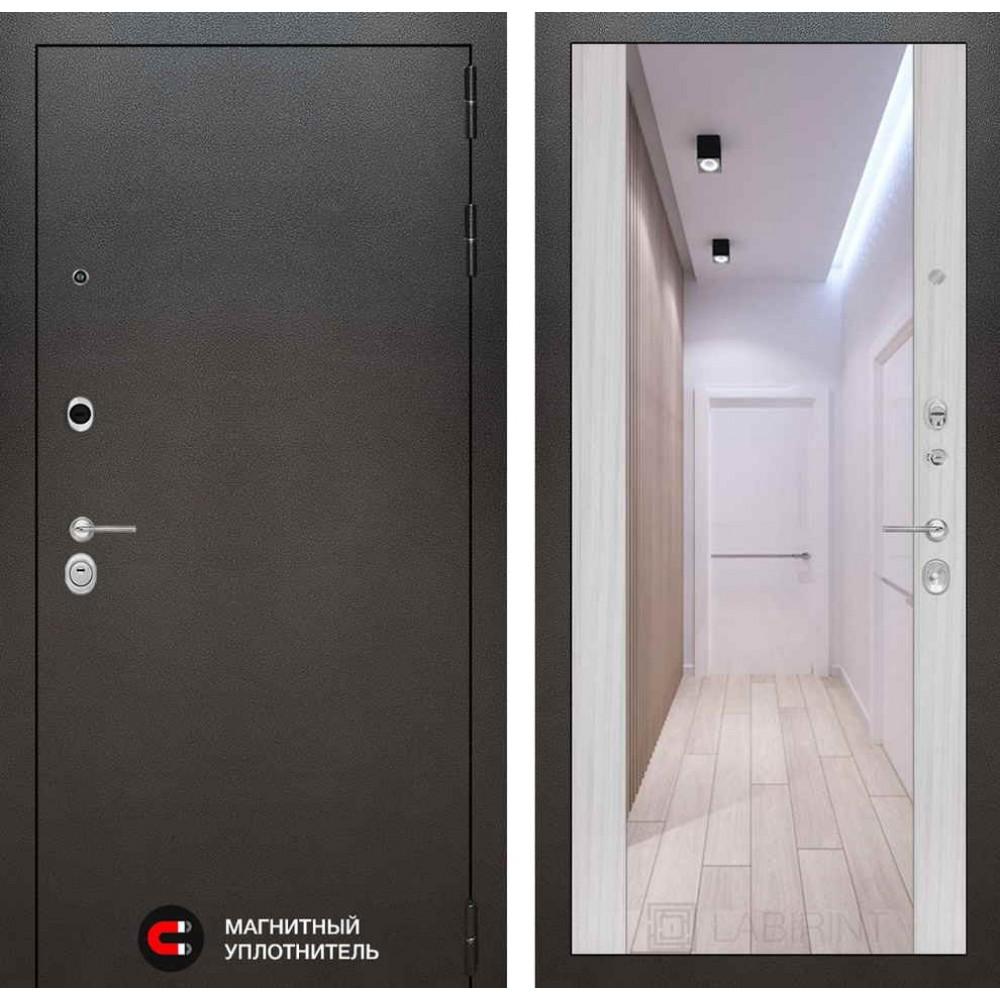 Входная дверь Лабиринт SILVER с Зеркалом Максимум - Сандал белый (трехконтурные)