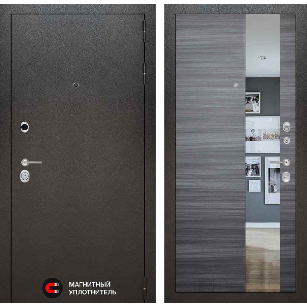 Входная дверь Лабиринт SILVER с Зеркалом - Сандал серый горизонтальный (антивандальные)