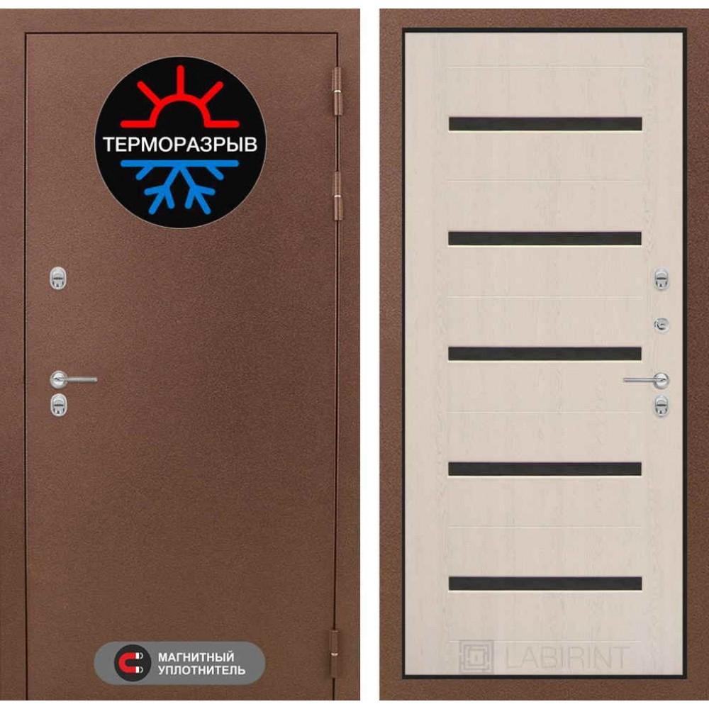 Входная дверь для дома с терморазрывом Лабиринт Термо Магнит 01 - Беленый дуб, стекло черное (морозостойкие )