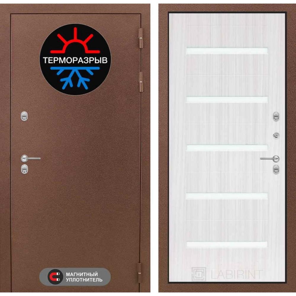 Входная дверь для дома с терморазрывом Лабиринт Термо Магнит 01 - Сандал белый, стекло белое (утепленные)