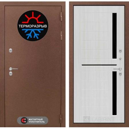 Входная дверь для дома с терморазрывом  Лабиринт Термо Магнит 02 - Сандал белый, стекло черное (морозостойкие )