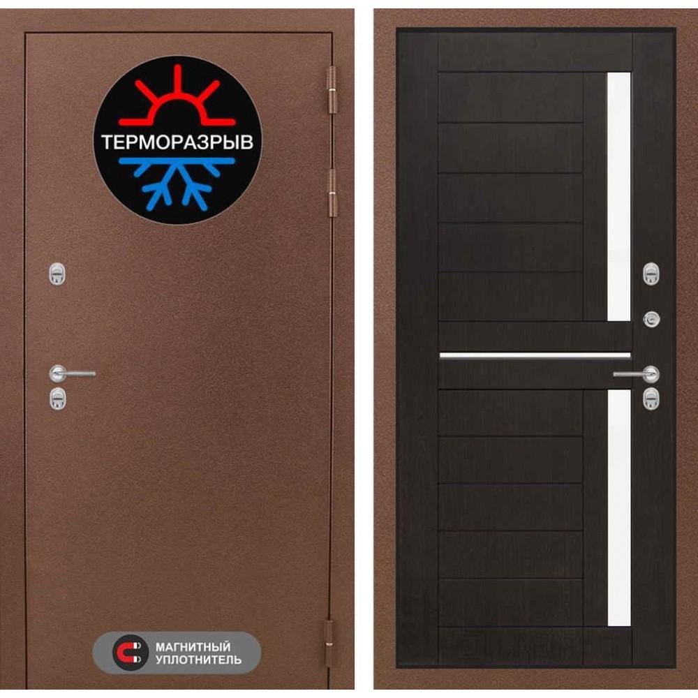 Входная дверь для дома с терморазрывом Лабиринт Термо Магнит 02 - Венге, стекло белое (утепленные)
