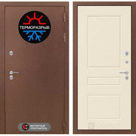 Входная дверь с терморазрывом для коттеджа Лабиринт Термо Магнит 03 - Крем софт (сейфовые)