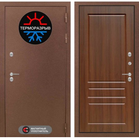 Входная дверь с терморазрывом для дома Лабиринт Термо Магнит 03 - Орех бренди (утепленные)