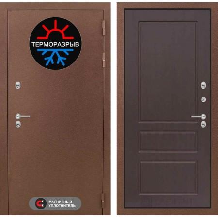 Входная дверь в дом с терморазрывом Лабиринт Термо Магнит 03 - Орех премиум (утепленные)