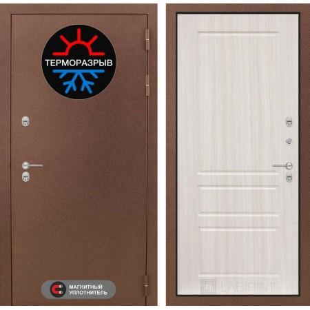 Входная металлическая дверь с терморазрывом Лабиринт Термо Магнит 03 - Сандал белый (утепленные)