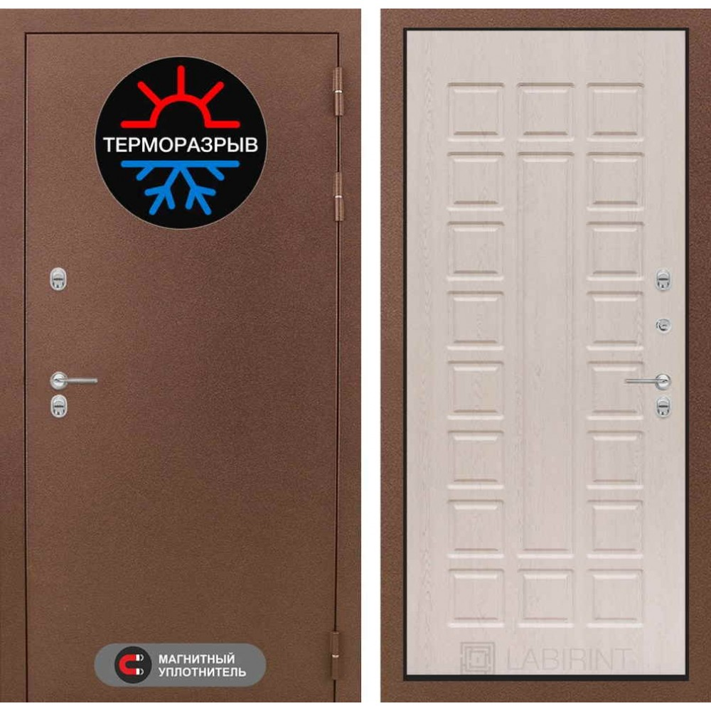 Входная дверь с терморазрывом для частного дома Лабиринт Термо Магнит 04 - Беленый дуб (утепленные)