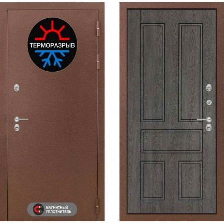 Входная дверь с терморазрывом для коттеджа Лабиринт Термо Магнит 10 - Дуб филадельфия графит (трехконтурные)