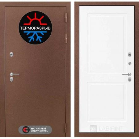 Входная дверь с терморазрывом для дома Лабиринт Термо Магнит 11 - Белый софт (с шумоизоляцией)
