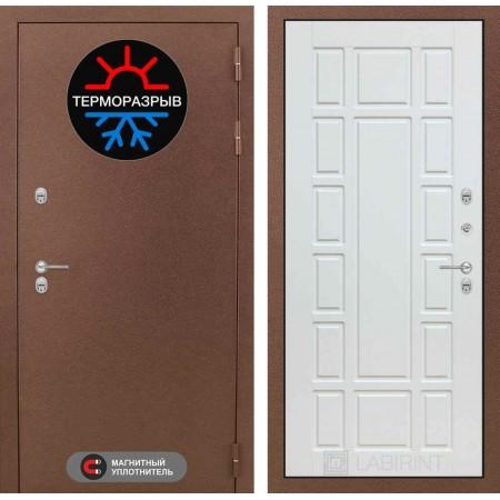 Входная дверь с терморазрывом для коттеджа Лабиринт Термо Магнит 12 - Белое дерево(сейфовые)
