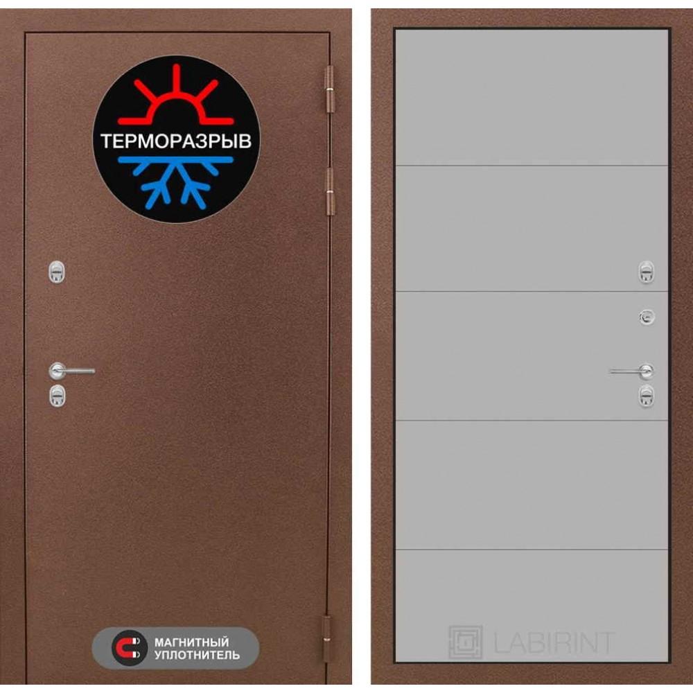 Входная дверь с терморазрывом для дома Лабиринт Термо Магнит 13 - Грей софт (утепленные)
