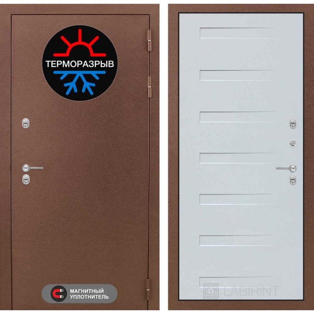 Входная дверь для дома с терморазрывом Лабиринт Термо Магнит 14 - Дуб кантри белый горизонтальный (морозостойкие )