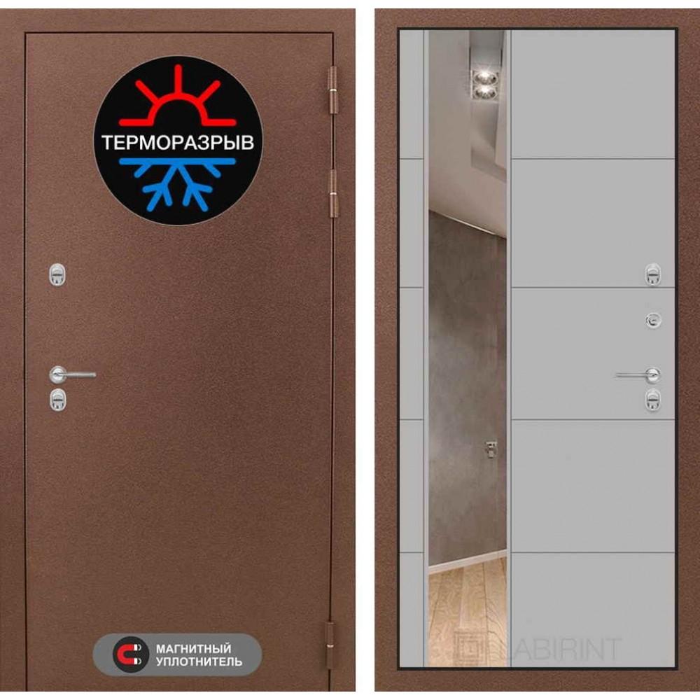 Входная дверь с терморазрывом для дома Лабиринт Термо Магнит с Зеркалом 19 - Грей софт (морозостойкие)
