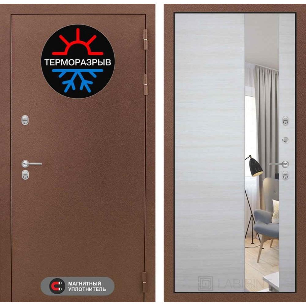Входная дверь с терморазрывом для дома Лабиринт Термо Магнит с Зеркалом - Акация светлая горизонтальная (морозостойкие )