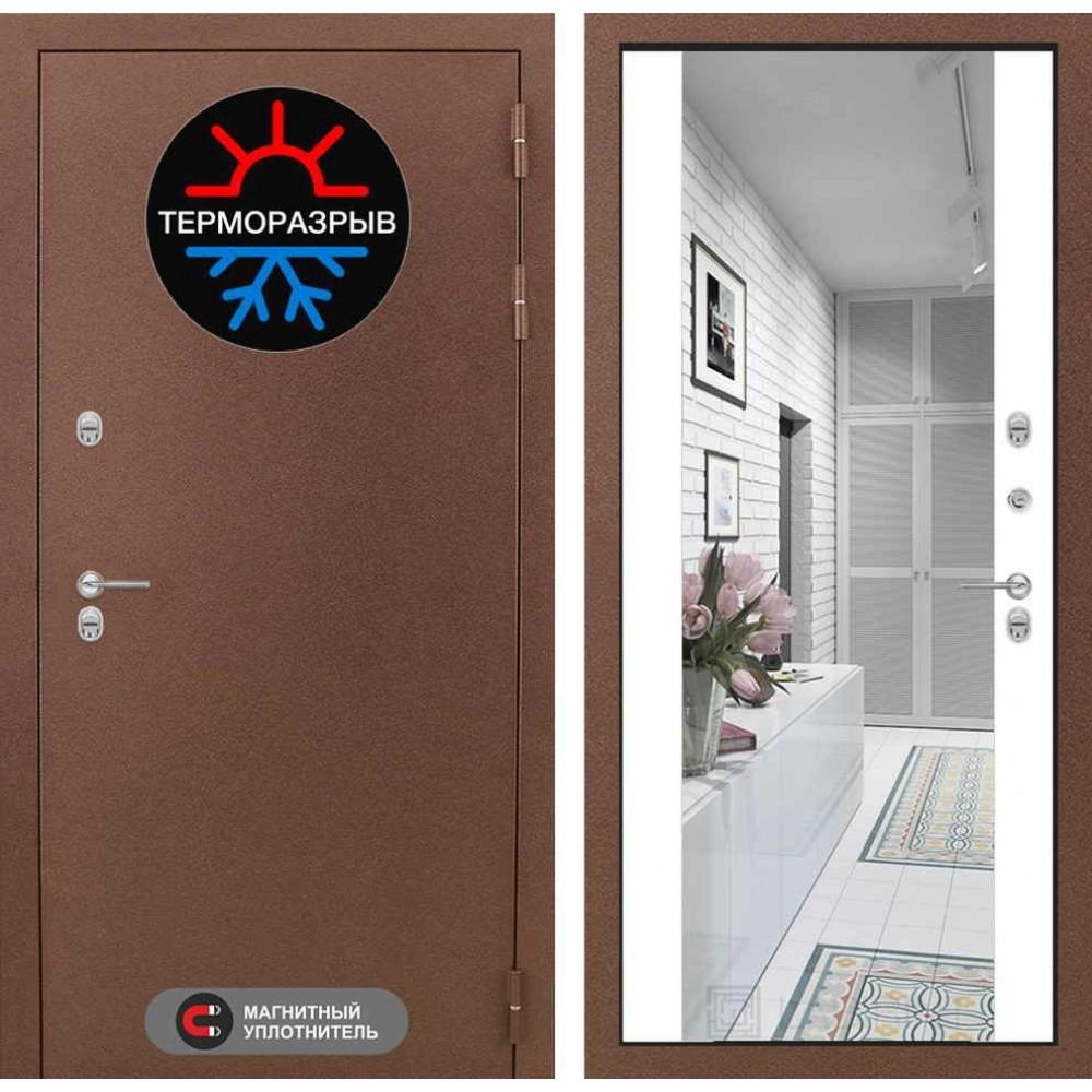 Входная дверь Лабиринт Термо Магнит с Зеркалом Максимум - Белый софт (морозостойкие)