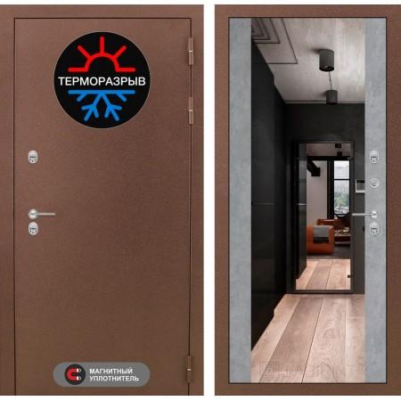 Входная дверь Лабиринт Термо Магнит с Зеркалом Максимум - Бетон светлый (морозостойкие )