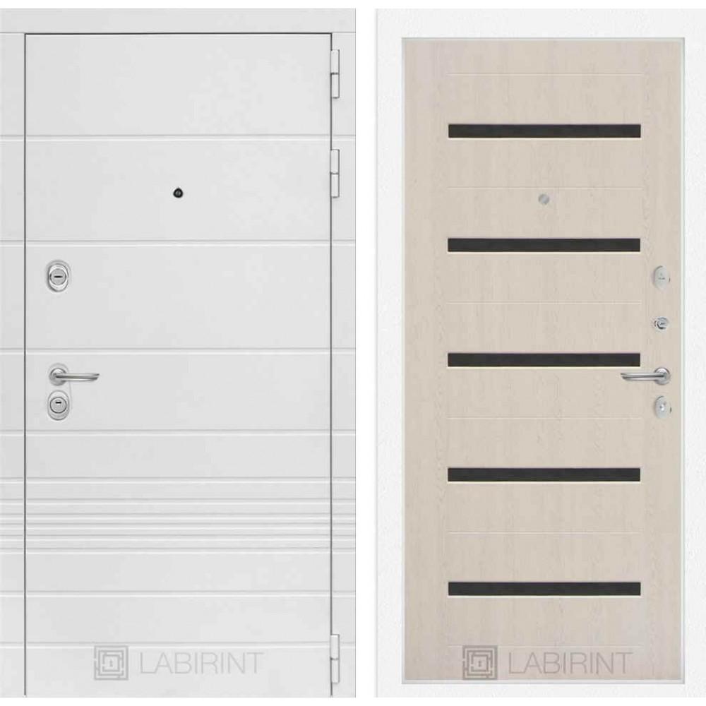 Входная дверь Лабиринт TRENDO 01 - Беленый дуб, стекло черное (утепленные)