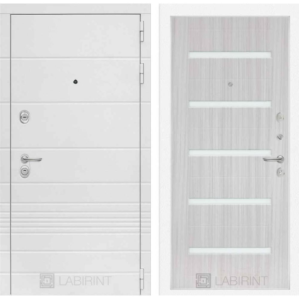 Входная дверь Лабиринт TRENDO 01 - Сандал белый, стекло белое (утепленные)