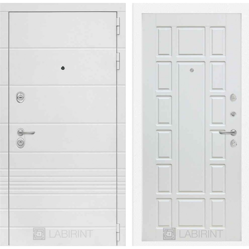 Входная дверь Лабиринт TRENDO 12 - Белое дерево (трехконтурные)