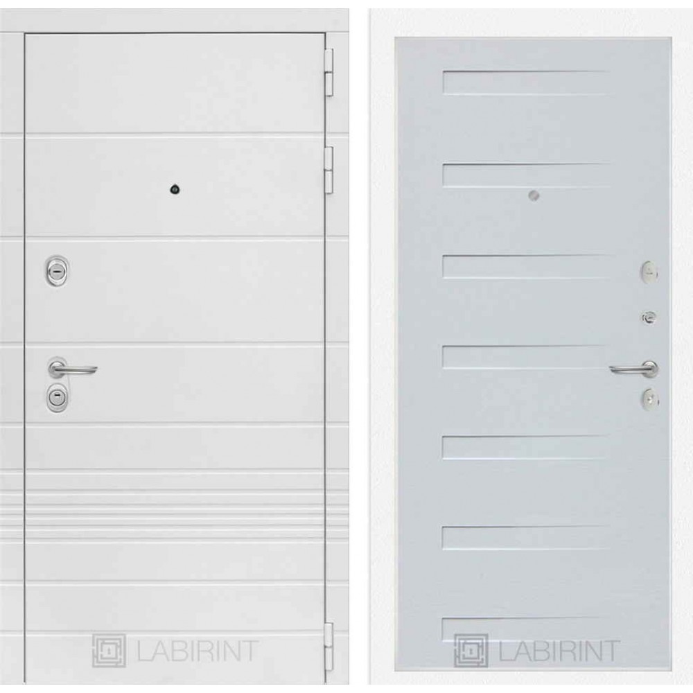 Входная дверь Лабиринт TRENDO 14 - Дуб кантри белый горизонтальный (с шумоизоляцией)