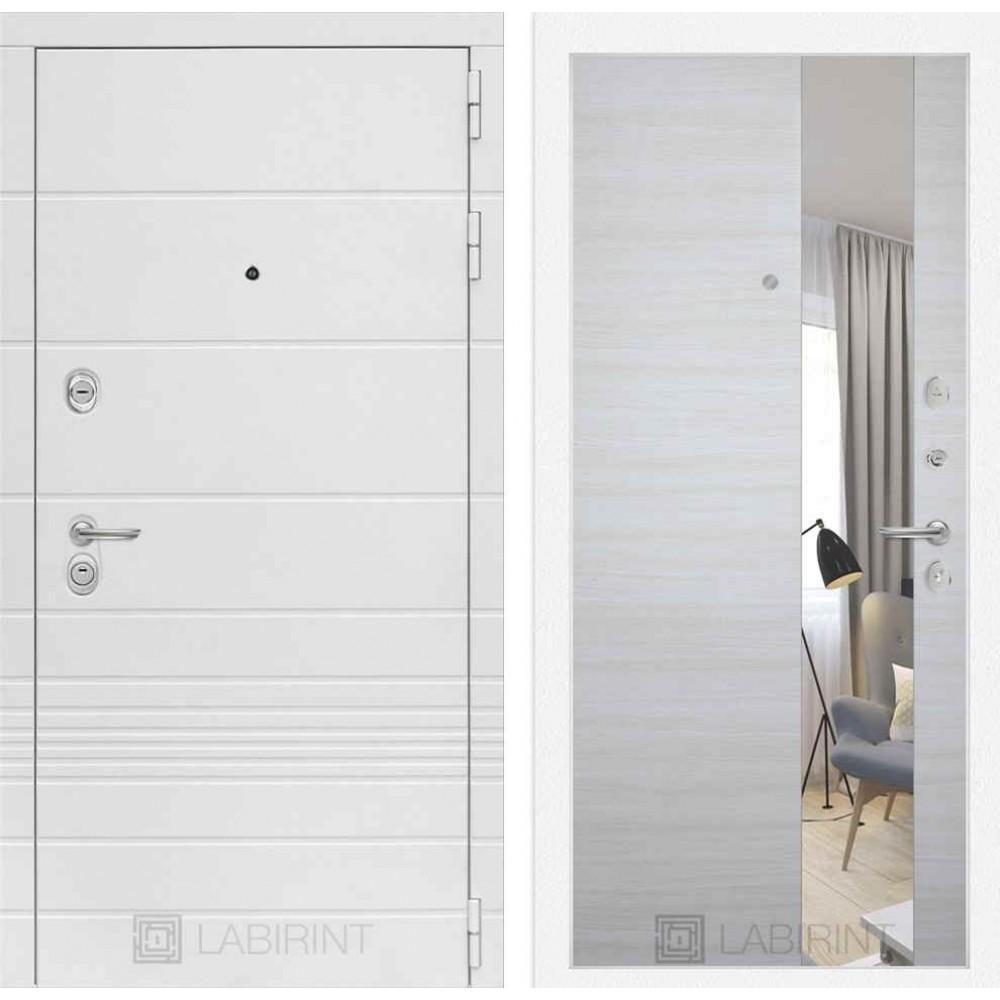 Входная дверь Лабиринт TRENDO с Зеркалом - Акация светлая горизонтальная (с шумоизоляцией)