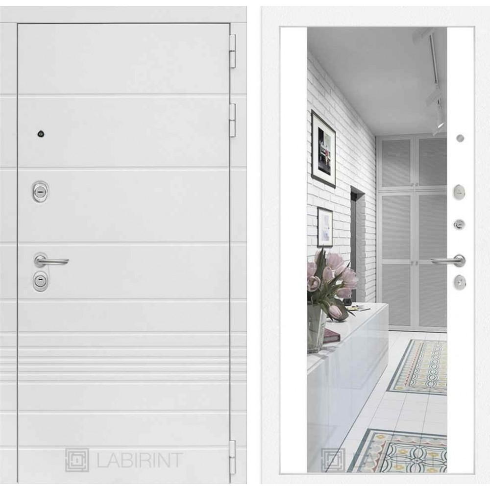 Входная дверь Лабиринт TRENDO с Зеркалом Максимум - Белый софт