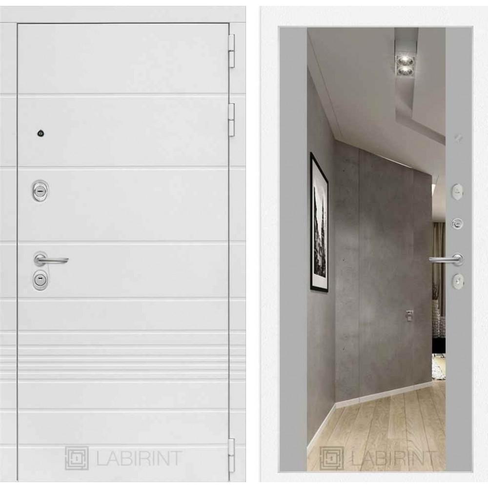 Входная дверь Лабиринт TRENDO с Зеркалом Максимум- Грей софт (утепленные)