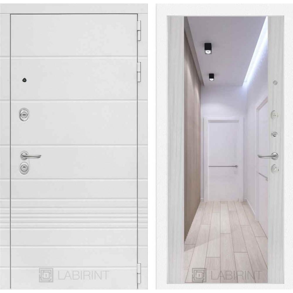 Входная дверь Лабиринт TRENDO  с Зеркалом Максимум - Сандал белый (с шумоизоляцией)
