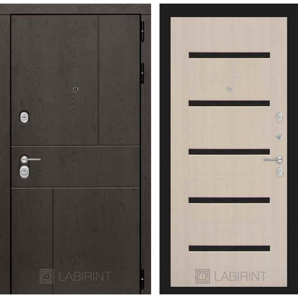 Входная дверь Лабиринт URBAN 01 - Беленый дуб, стекло черное (утепленные )