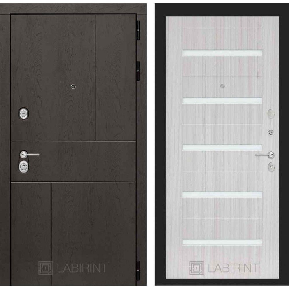 Входная дверь Лабиринт URBAN 01 - Сандал белый, стекло белое (утепленные )