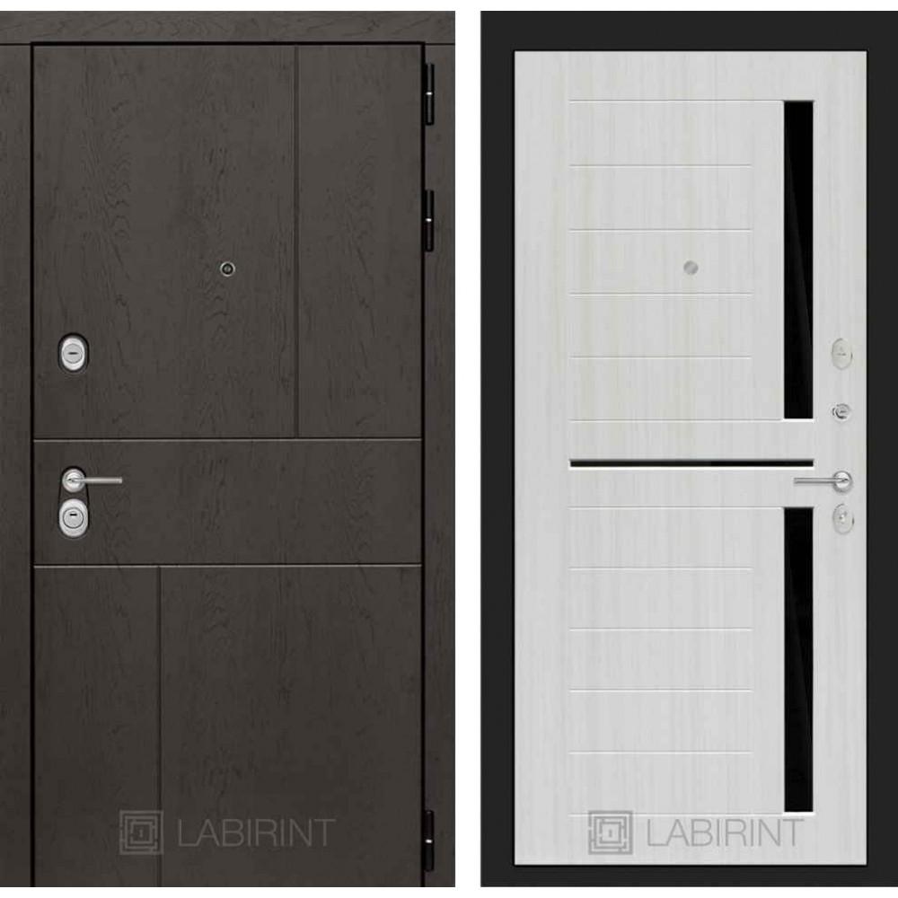 Входная дверь Лабиринт URBAN 02 - Сандал белый, стекло черное (с шумоизоляцией)