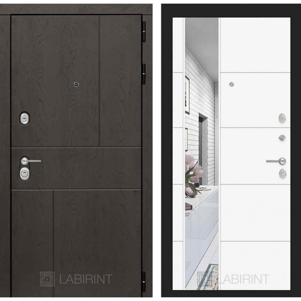 Входная дверь Лабиринт URBAN с Зеркалом 19 - Белый софт ( трехконтурные )