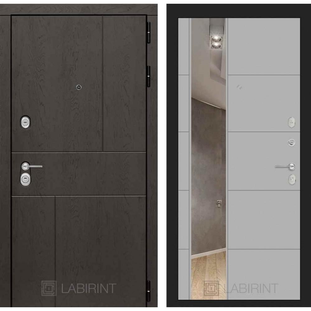 Входная дверь Лабиринт URBAN с Зеркалом 19 - Грей софт ( с шумоизоляцией )