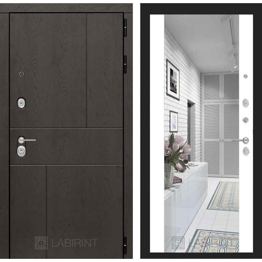 Входная дверь Лабиринт URBAN с Зеркалом Максимум - Белый софт (утепленные )