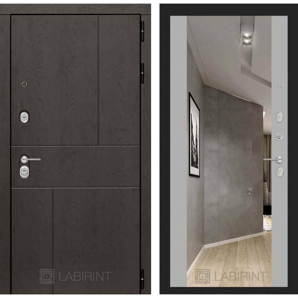 Входная дверь Лабиринт URBAN с Зеркалом Максимум - Грей софт (трехконтурные)