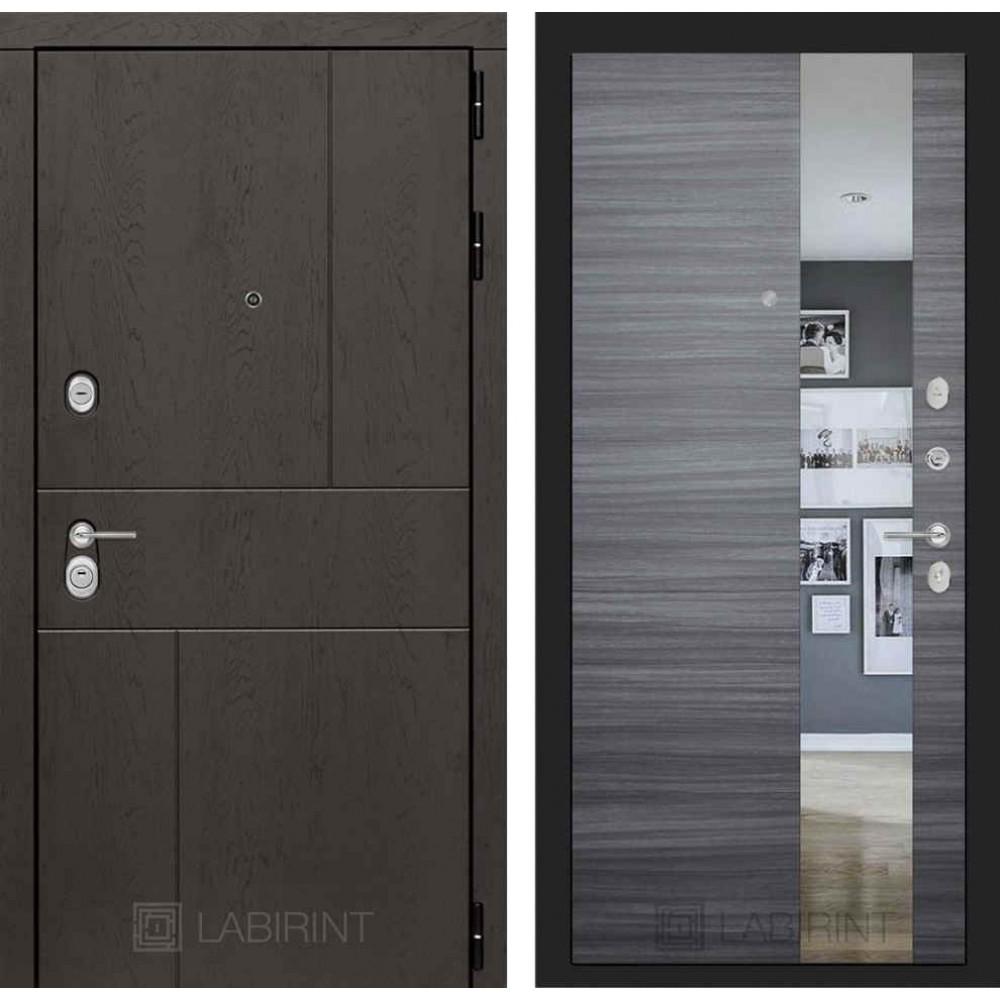 Входная дверь Лабиринт URBAN с Зеркалом - Сандал серый горизонтальный (трехконтурные)