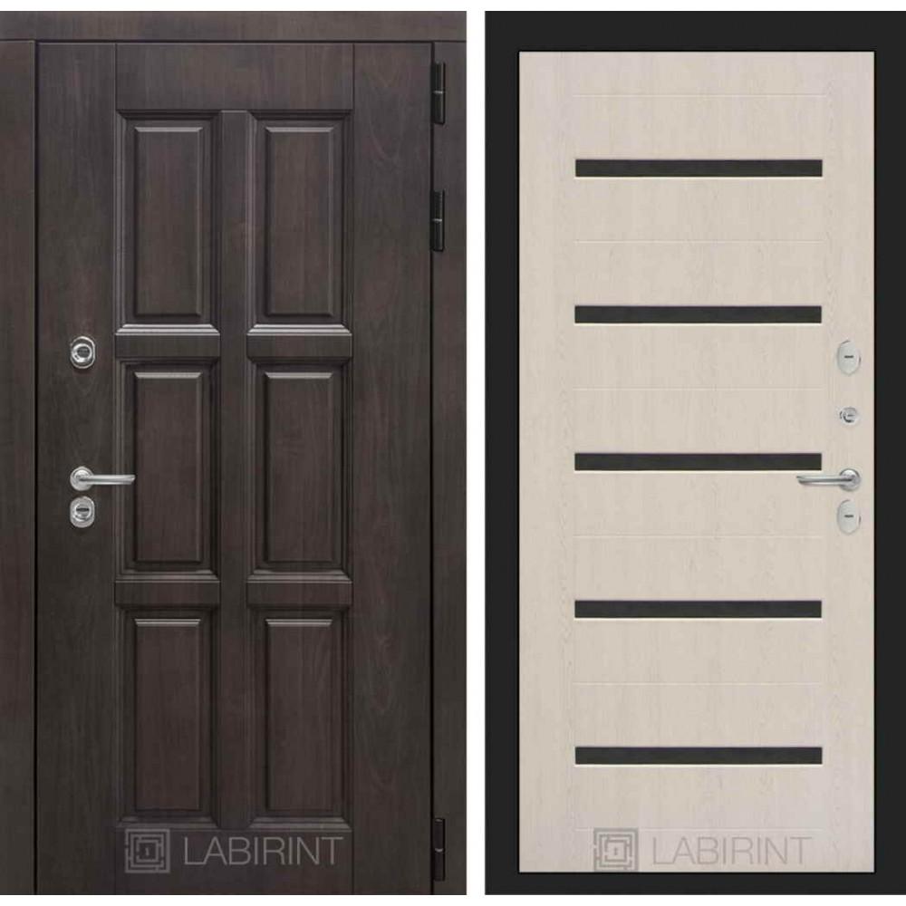 Входная дверь Лондон ТЕРМО 01 - Беленый дуб, стекло черное