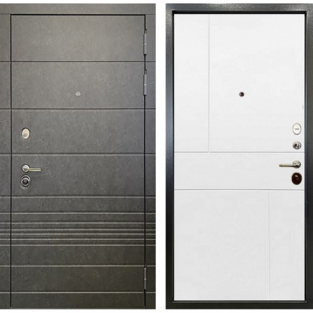 Дверь Ратибор Мегаполис 3К Штукатурка графит / Силк сноу белый